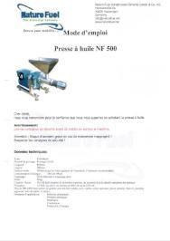 NF 500 Mode d'emploi